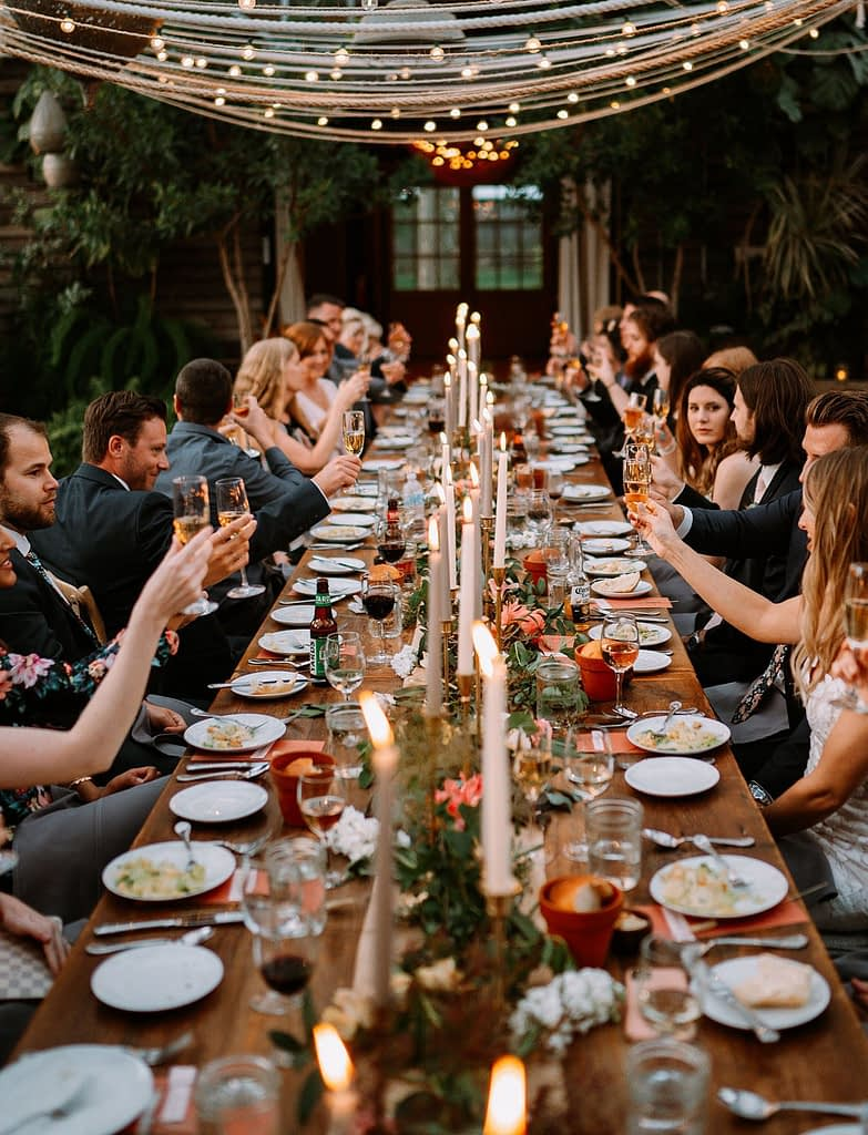Guests celebrate at a beautifully styled micro wedding.